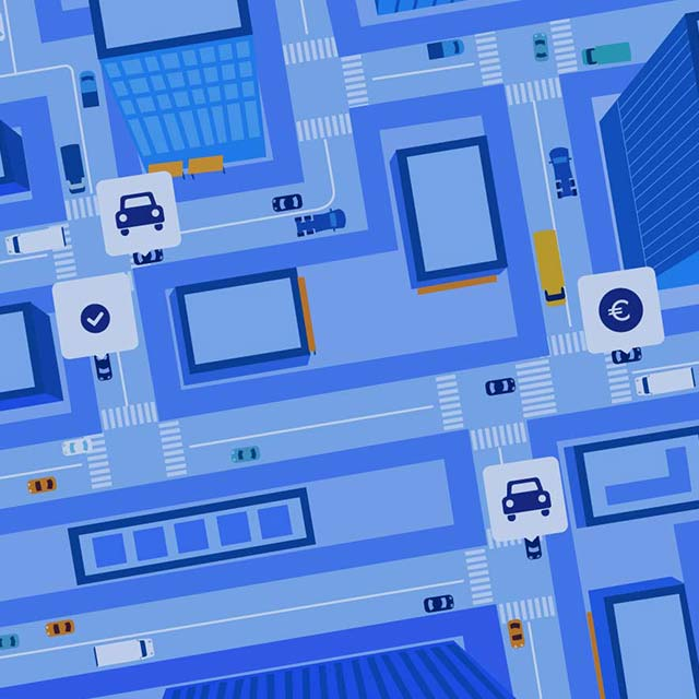 An illustration of an overhead view of ridesharing options on city streets.
